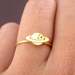 Planet Saturn Shaped Galaxy Universe Space Themed Adjustable Ring in Gold