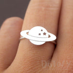 Planet Saturn Shaped Galaxy Universe Space Themed Adjustable Ring in Silver
