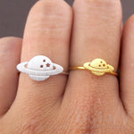 Planet Saturn Shaped Galaxy Universe Space Themed Adjustable Ring