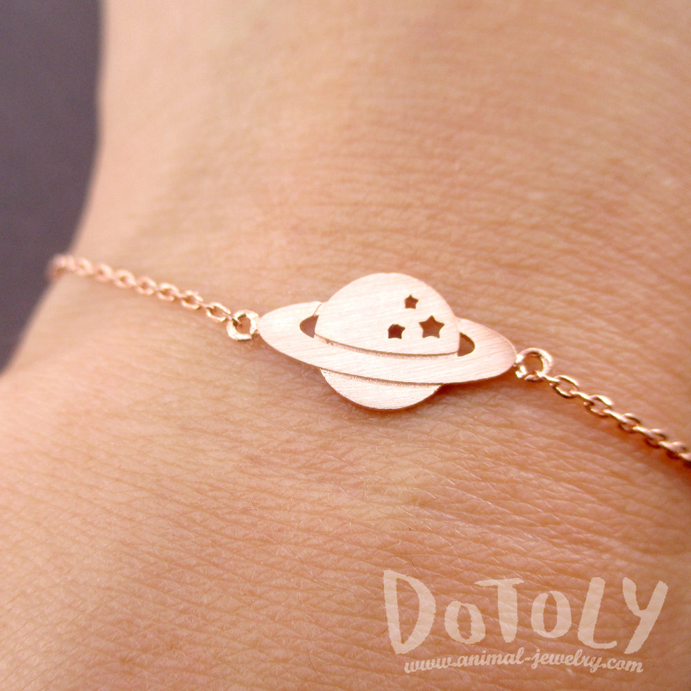 Planet Saturn Stars Dye Cut Silhouette Shaped Charm Bracelet in Rose Gold