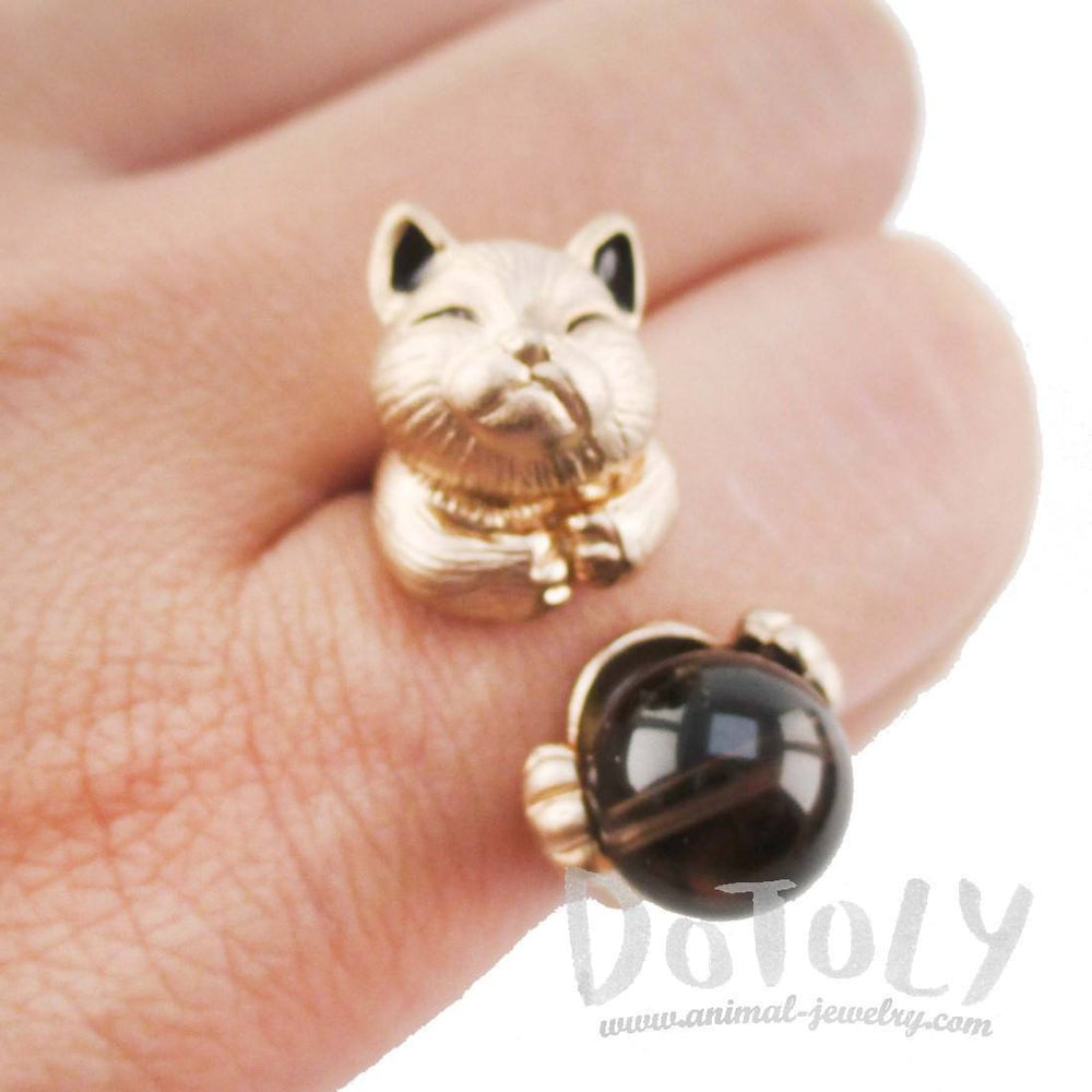 Playful Kitty Cat Shaped Animal Inspired Ring in Rose Gold | DOTOLY