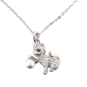 Playful Kitty Cat Shaped Pendant Necklace in Silver with Rhinestones