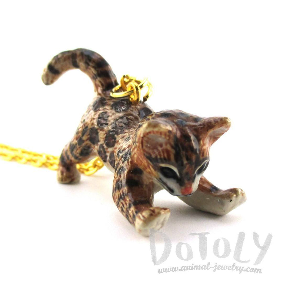 Playful Porcelain Bengal Kitten Cat Shaped Ceramic Pendant Necklace