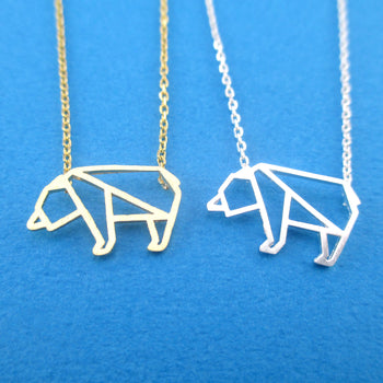 Polar Bear Outline Shaped Arctic Animal Pendant Necklace