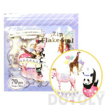 Panda Giraffe Penguin Shaped Circus Animal Photo Sticker Flake Seals From Japan | 70 Pieces | DOTOLY