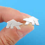 Polar Bear Shaped Allergy Free Stud Earrings in Silver | DOTOLY