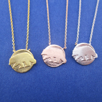 Polar Bear Silhouette Shaped Arctic Round Coin Pendant Necklace