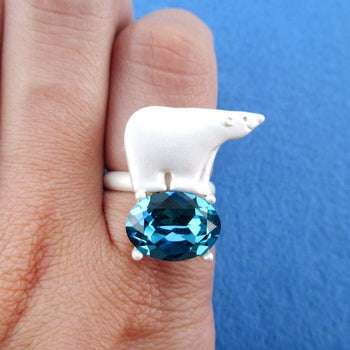 Polar Bear Standing on an Iceberg Shaped Rhinestone Adjustable Ring
