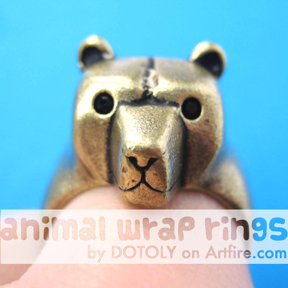 3D Adjustable Polar Bear Animal Wrap Around Hug Ring in Brass | Animal Jewelry | DOTOLY