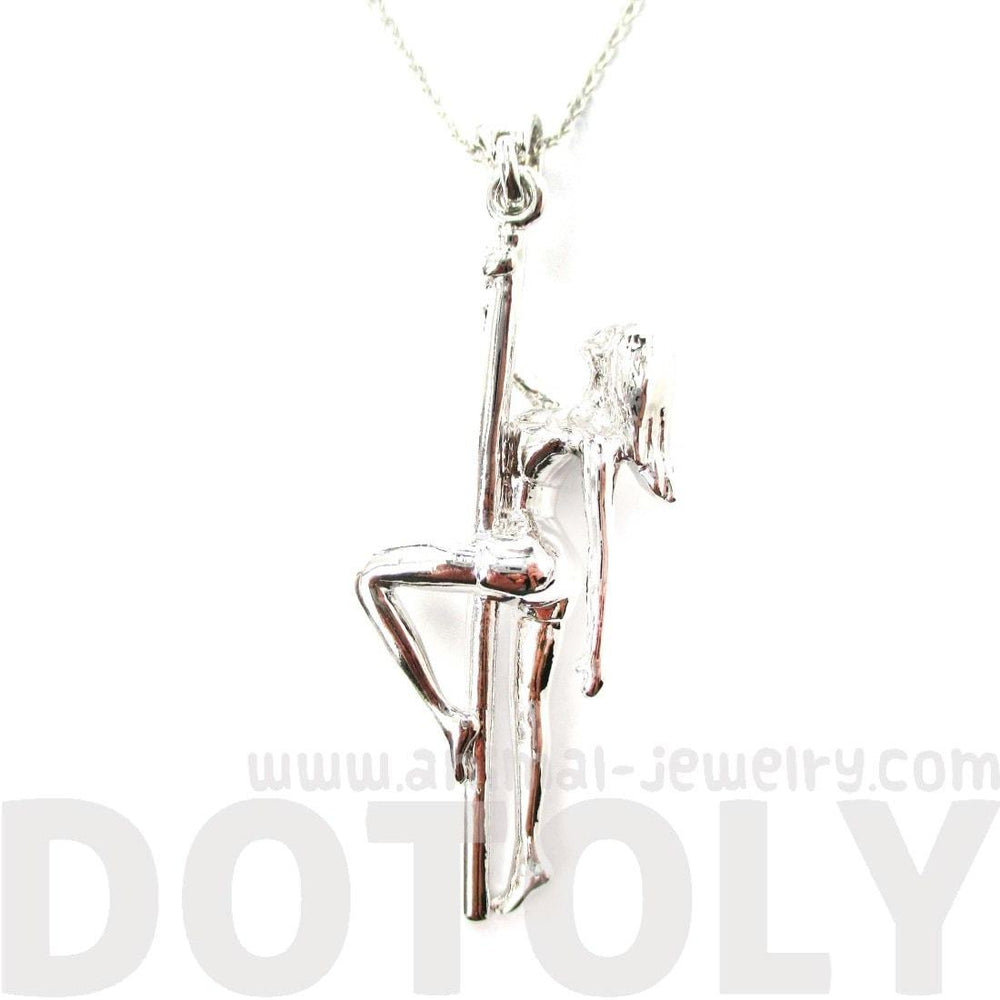 Pole Dancer Aerial Art Girl Pendant Necklace in Silver