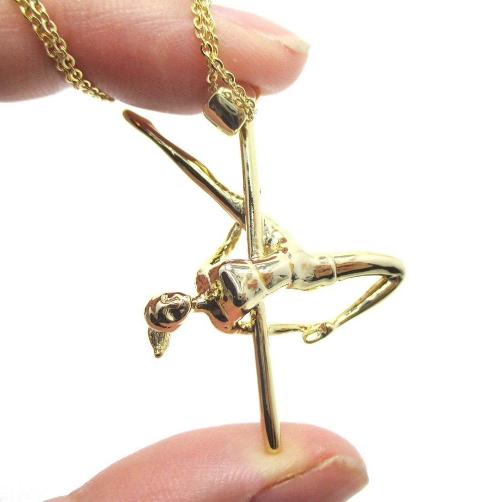Pole Dancing Aerial Dance Themed Necklace in Gold