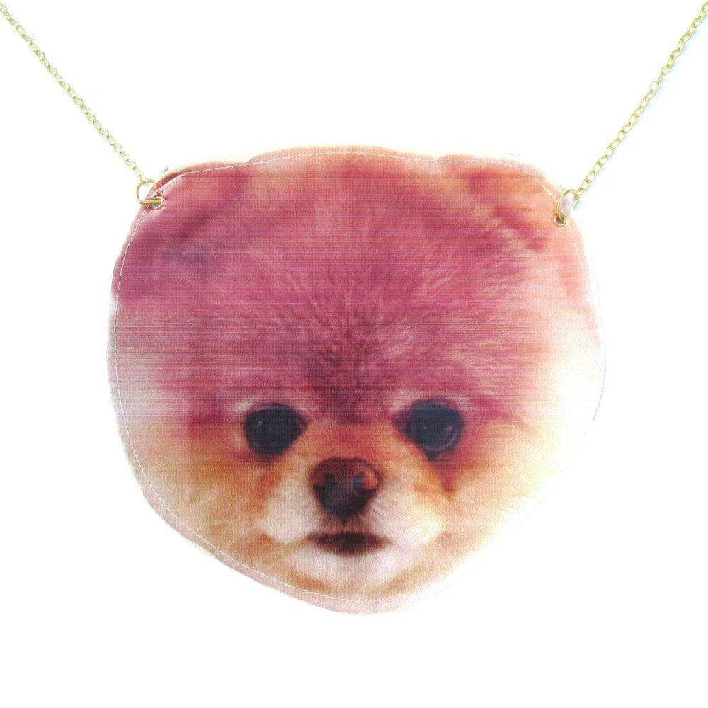 Pomeranian Boo Puppy Dog Face Shaped Vinyl Cross Body Shoulder Bag