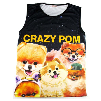 Pomeranians Making Funny Faces Graphic Print Oversized Unisex Tank Top