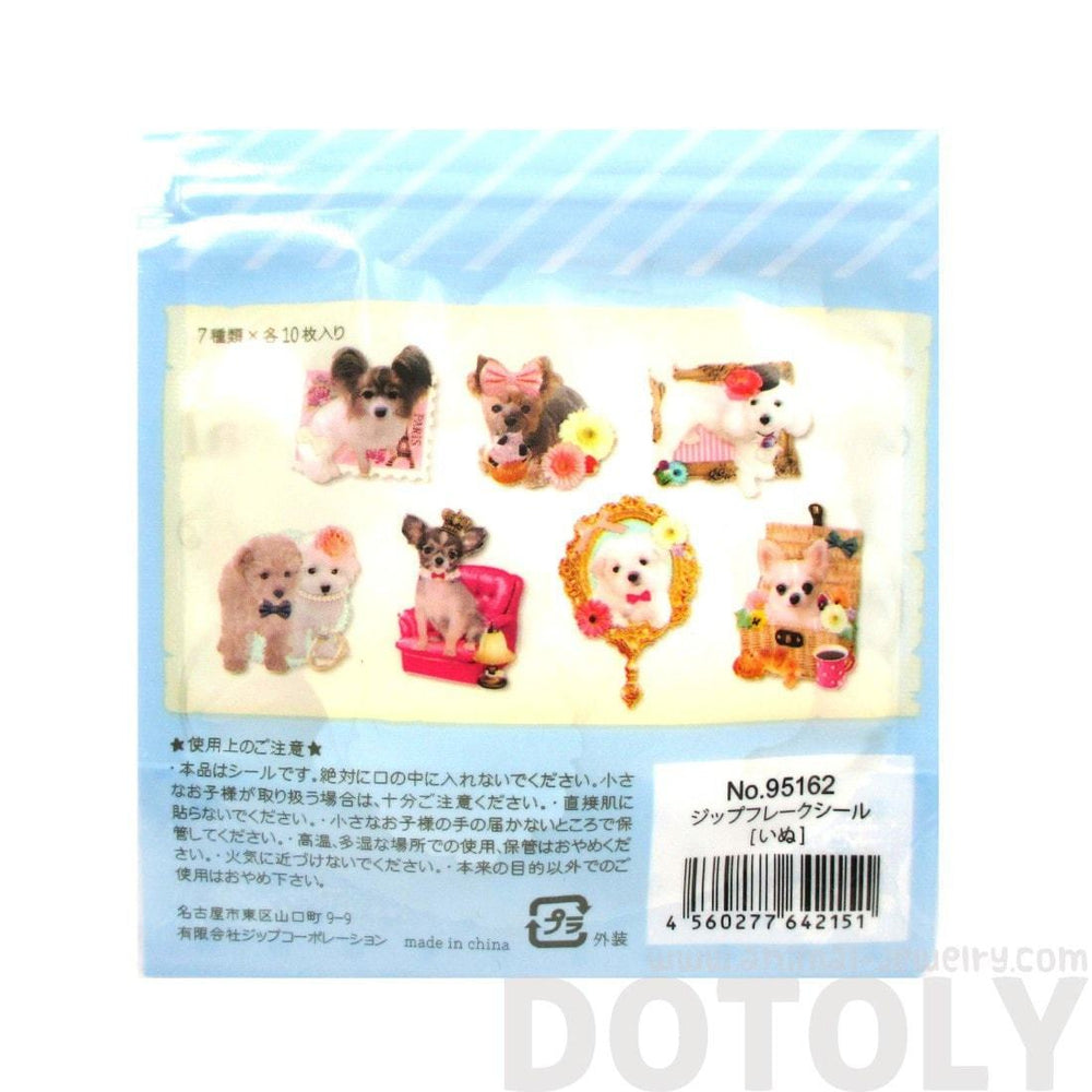 Poodles Chihuahuas Maltese Puppy Dog Themed Photo Stickers From Japan