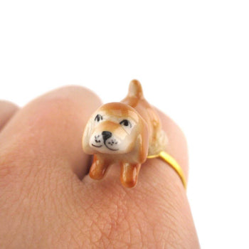 Porcelain Beagle Puppy Dog Shaped Ceramic Adjustable Animal Ring