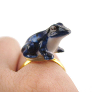 Porcelain Blue Poison Dart Frog Shaped Ceramic Adjustable Animal Ring