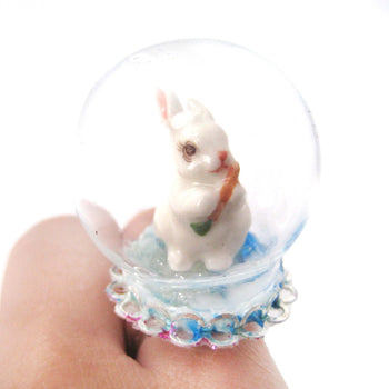 Porcelain Bunny Rabbit Glass Snow Globe Bubble Ball Adjustable Ring