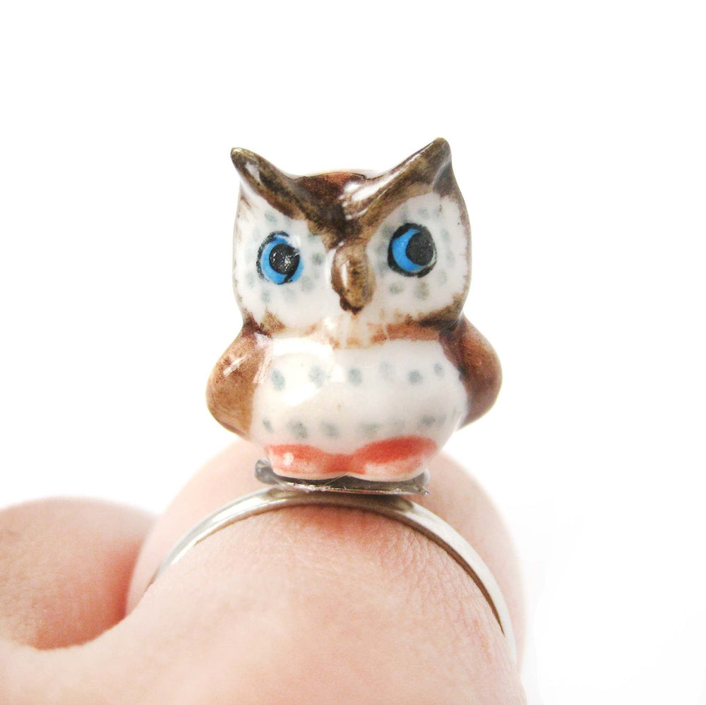 porcelain-ceramic-adorable-owl-bird-animal-adjustable-ring-handmade