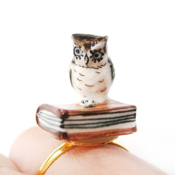 porcelain-ceramic-adorable-owl-bird-with-book-animal-adjustable-ring-handmade