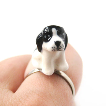 porcelain-ceramic-english-springer-spaniel-puppy-dog-animal-adjustable-ring-handmade