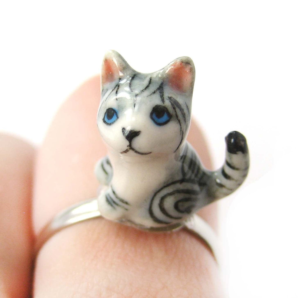 Porcelain Ceramic Detailed Kitty Cat Animal Adjustable Ring with Long Tail   Handmade