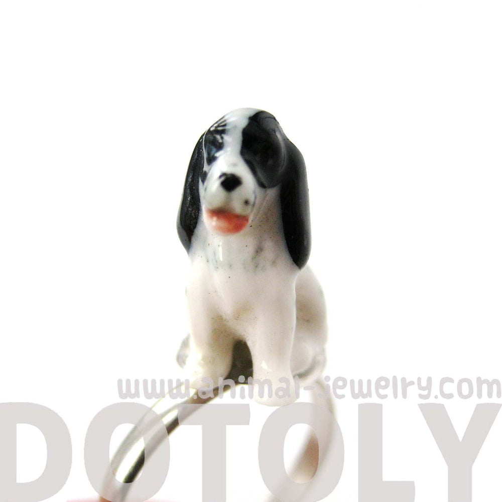 porcelain-ceramic-english-springer-spaniel-dog-animal-adjustable-ring-handmade