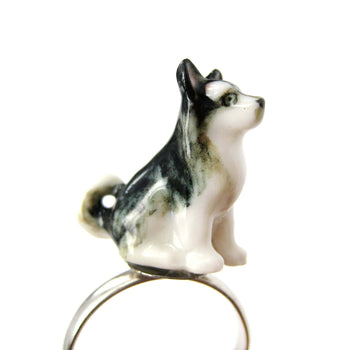 porcelain-ceramic-siberian-husky-puppy-dog-animal-adjustable-ring-handmade