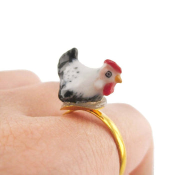 Porcelain Chicken Hen Shaped Ceramic Adjustable Animal Ring | Handmade