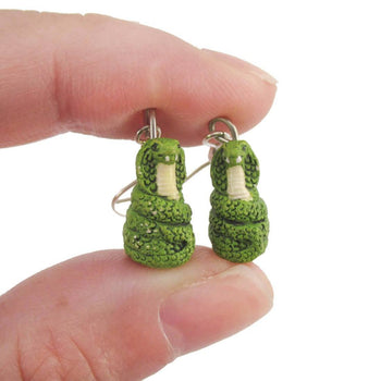 Porcelain Green Cobra Snake Shaped Ceramic Dangle Earrings | Handmade