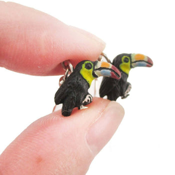 Porcelain Keel-billed Toucan Bird Shaped Ceramic Dangle Earrings