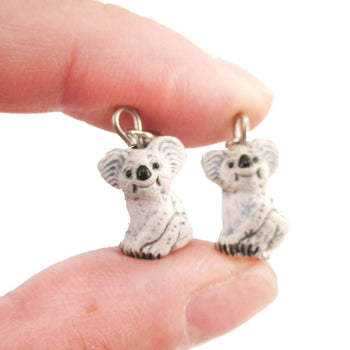 Porcelain Koala Bears Shaped Ceramic Animal Dangle Earrings | Handmade