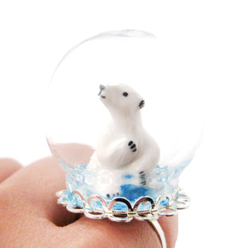 Porcelain Polar Bear Glass Snow Globe Bubble Ball Adjustable Ring