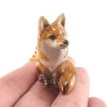 Porcelain Sitting Red Fox Shaped Ceramic Animal Pendant Necklace
