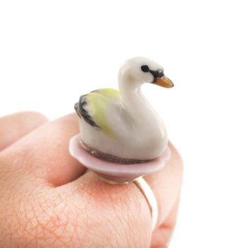 Porcelain White Swan on a Flower Petal Shaped Adjustable Animal Ring