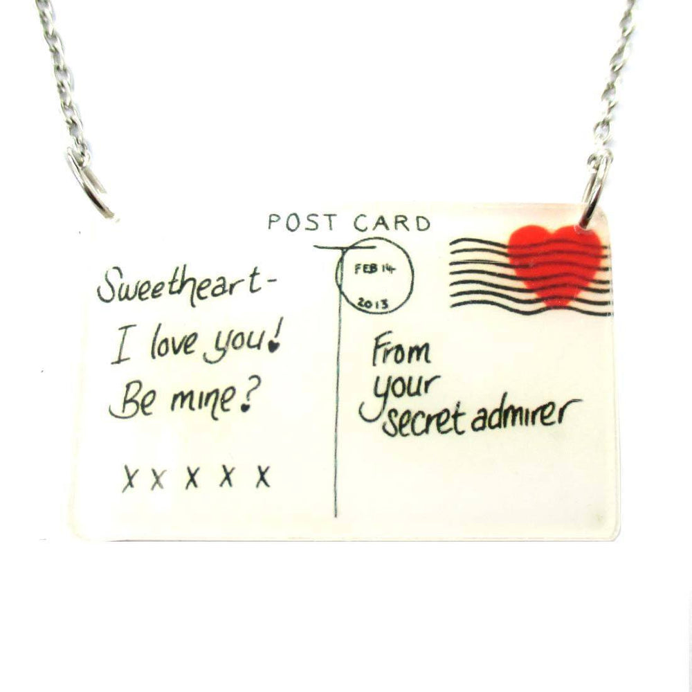 ... Post Card From A Secret Admirer Love Letter Shaped Pendant Necklace ...