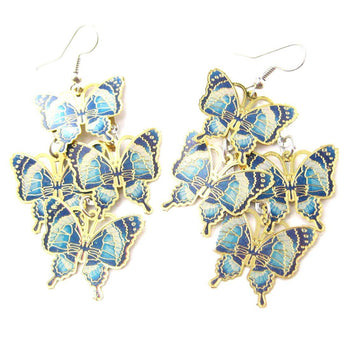 Pretty Butterfly Shaped Layered Dangle Drop Earrings in Blue on Gold
