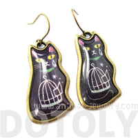 Pretty Illustrated Kitty Cat Birdcage Animal Dangle Earrings in Black