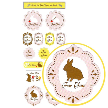 Pretty Lace and Bunny Rabbit Silhouette Shaped Envelope Sticker Seals