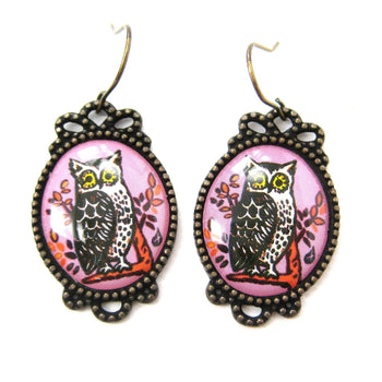Pretty Oval Owl Bird Illustrated Resin Dangle Earrings | Animal Jewelry | DOTOLY