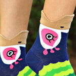 Pretty Peacock Bird Shaped Animal Short Cotton Socks for Women | DOTOLY