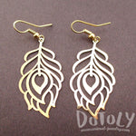 Pretty Peacock Feathers Shaped Dangle Earrings in Gold | DOTOLY | DOTOLY