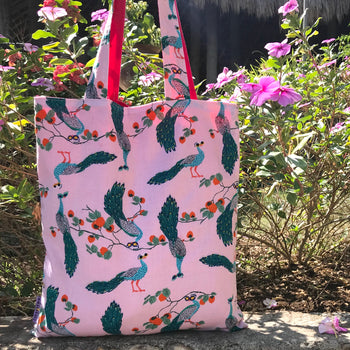 Pretty Pink Peacock All Over Print Cotton Reversible Tote Bags for Women