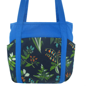 Large Utility Floral Print Blue Canvas Shoulder Tote Bag with Many Pockets