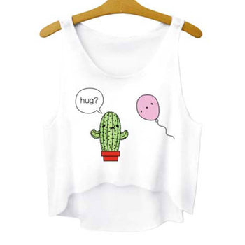 Prickly Cactus and Balloon Hug Crop Top Tee in White | DOTOLY | DOTOLY