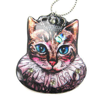 Princess Kitty Royal Cat Shaped Illustrated Resin Pendant Necklace | DOTOLY | DOTOLY