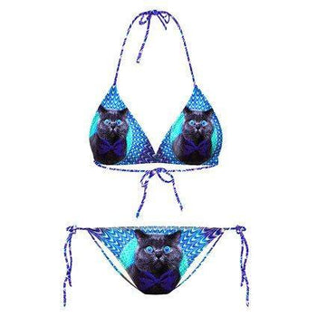 Psychedelic Trippy Kitty Cat Face All Over Print Triangle Bikini Set | Gifts for Cat Lovers | DOTOLY