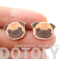 Pug Puppy Dog Animal Head Shaped Stud Earrings | Handmade Shrink Plastic | DOTOLY