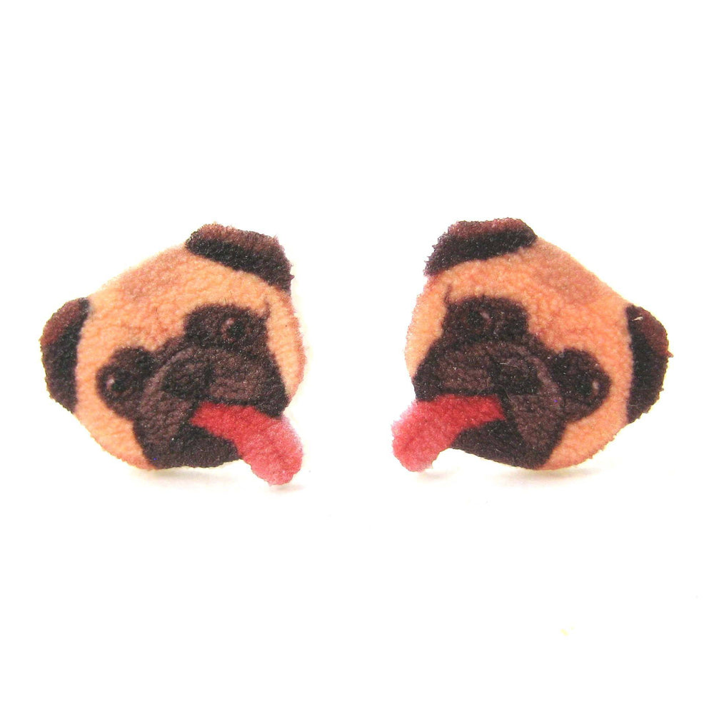 Pug Puppy Dog Animal Head Shaped Stud Earrings With Tongues Sticking Out | Handmade Shrink Plastic | DOTOLY