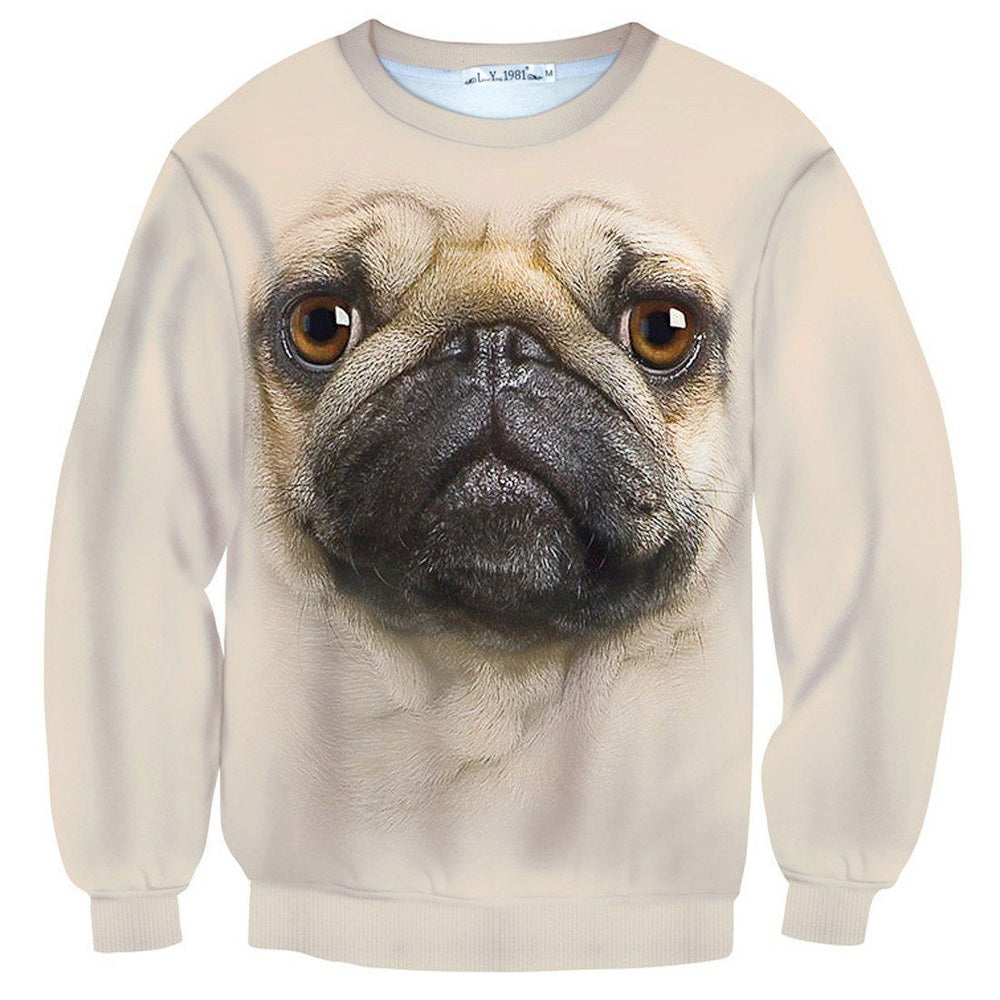 Pug Puppy Dog Face All Over Print Unisex Pullover Sweater | Gifts for Dog Lovers | DOTOLY
