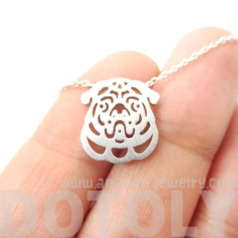 Pug Puppy Dog Face Cut Out Shaped Pendant Necklace in Silver | Animal Jewelry | DOTOLY